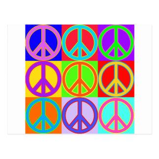 Colorful Peace Sign Design Postcard