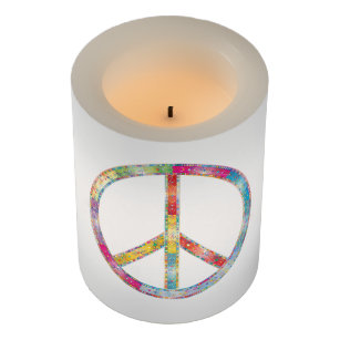 Colorful Peace Sign Flameless Candle