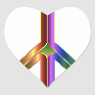 Colorful Peace Sign Heart Sticker