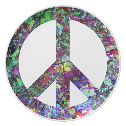 Colorful Peace Sign Party Plates