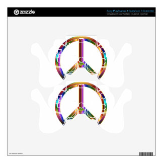 colorful peace sign PS3 controller decals