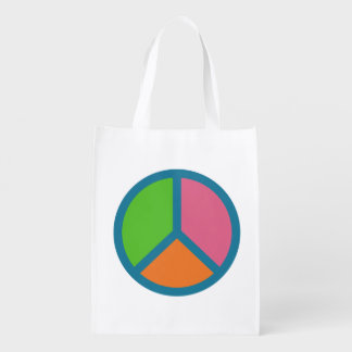 Colorful Peace Sign reusable bag Grocery Bags