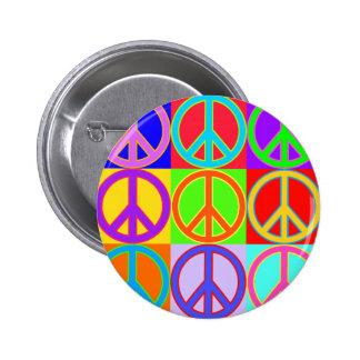 Colorful Peace Sign Warhol Design Pinback Button