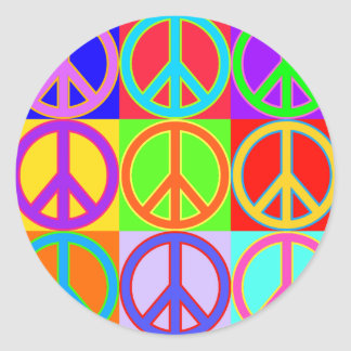 Colorful Peace Sign Warhol Design Round Stickers