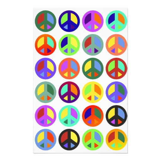 Colorful Peace Signs Customized Stationery