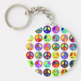 Colorful Peace Signs Keychain