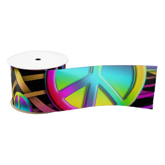 Colorful PEACE signs - make love not war Blank Ribbon