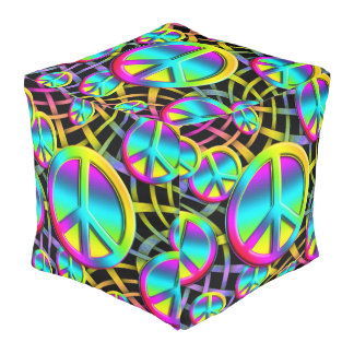 Colorful PEACE signs - make love not war Cube Pouf