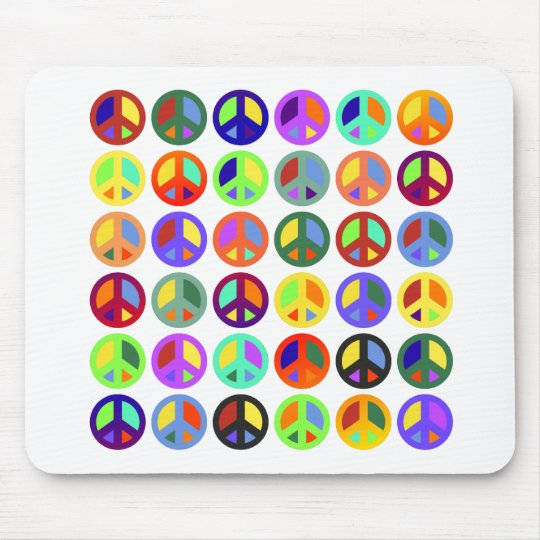 Colorful Peace Signs Mouse Pad