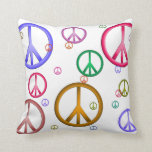 Colorful Peace Signs Pillow