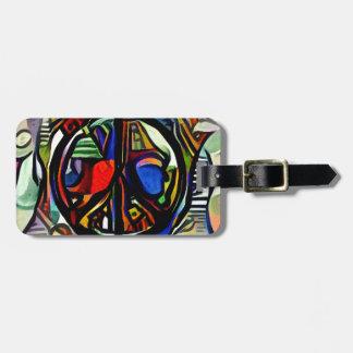 Colorful peace symbol bag tag