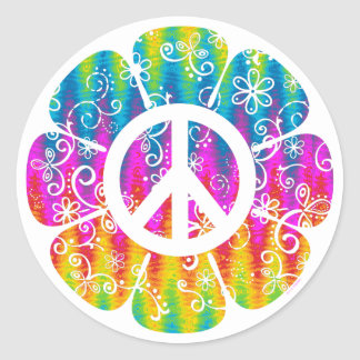 Colorful Peace Symbol Flower Classic Round Sticker