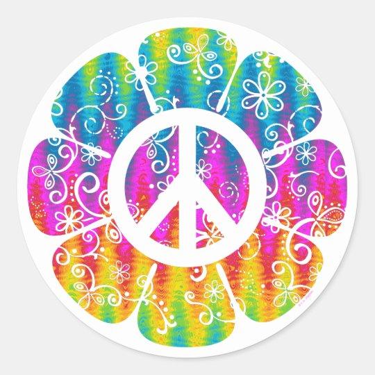 Colorful Peace Symbol Flower Classic Round Sticker Zazzle