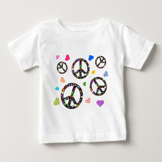 Colorful Peace symbol, flowers and Hearts Baby T-Shirt