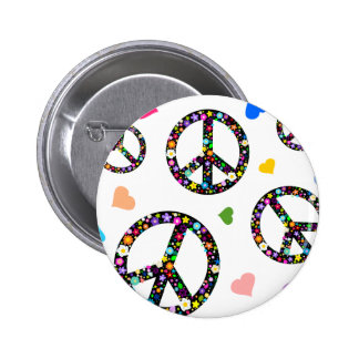 Colorful Peace symbol, flowers and Hearts 2 Inch Round Button