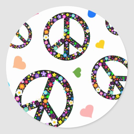 Colorful Peace symbol, flowers and Hearts Classic Round Sticker
