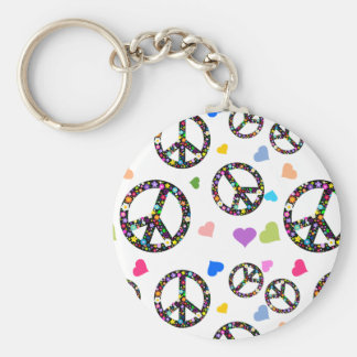 Colorful Peace symbol, flowers and Hearts Keychain