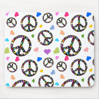 Colorful Peace symbol, flowers and Hearts Mouse Pad