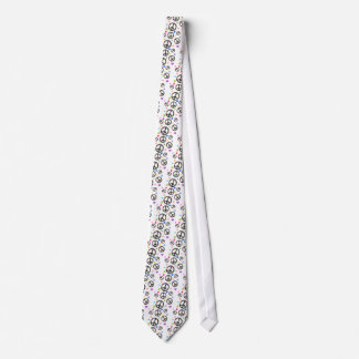 Colorful Peace symbol, flowers and Hearts Neck Tie