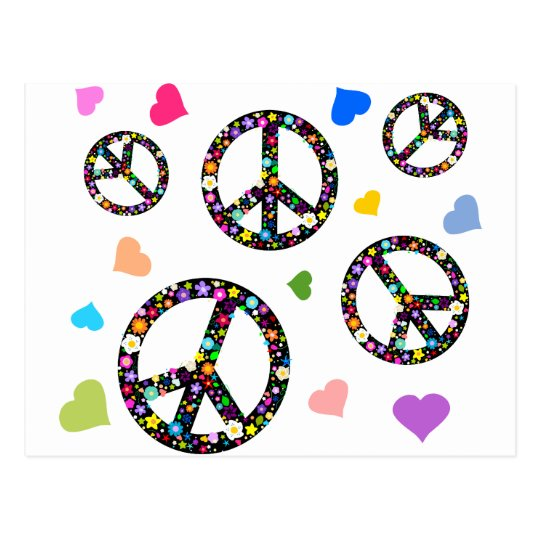 Colorful Peace symbol, flowers and Hearts Postcard