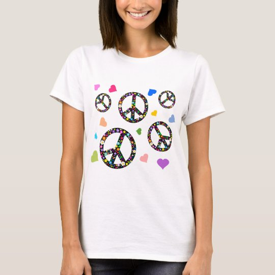 Colorful Peace symbol, flowers and Hearts T-Shirt