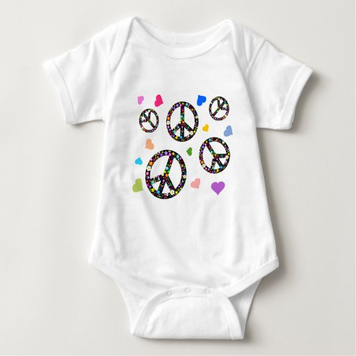 Colorful Peace symbol, flowers and Hearts Tshirts