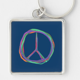 Colorful Peace Symbol Keychain