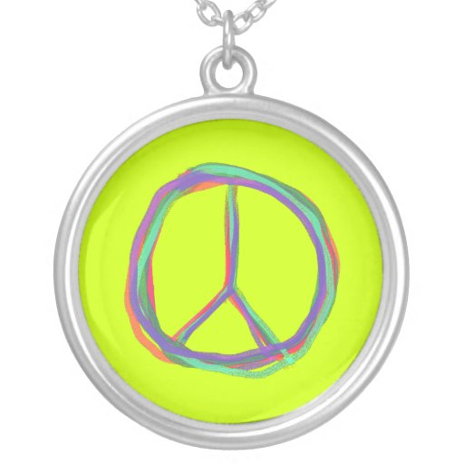 Colorful Peace Symbol Necklace