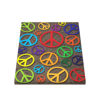 Colorful Peace Symbols Signs on Grunge Background Canvas Print