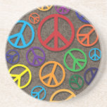Colorful Peace Symbols Signs on Grunge Background Beverage Coaster