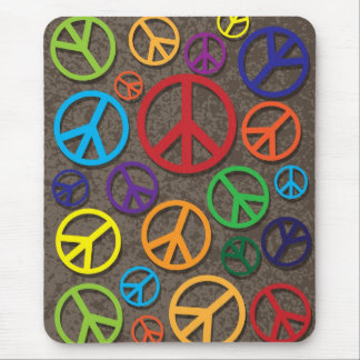 Colorful Peace Symbols Signs on Grunge Background Mouse Pad