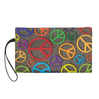 Colorful Peace Symbols Signs on Grunge Background Wristlet Purse