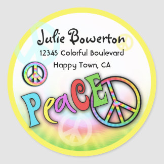 Colorful PEACE Tie Dye Address Label