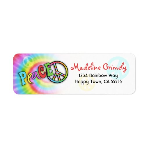 Colorful PEACE Tie Dye Address Label- Small