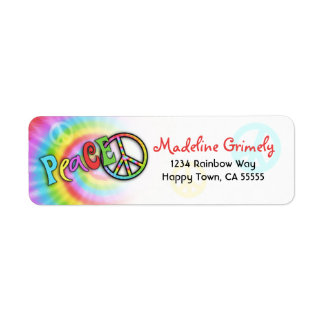 Colorful PEACE Tie Dye Address Label- Small Label