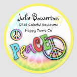 Colorful PEACE Tie Dye Address Label Round Stickers
