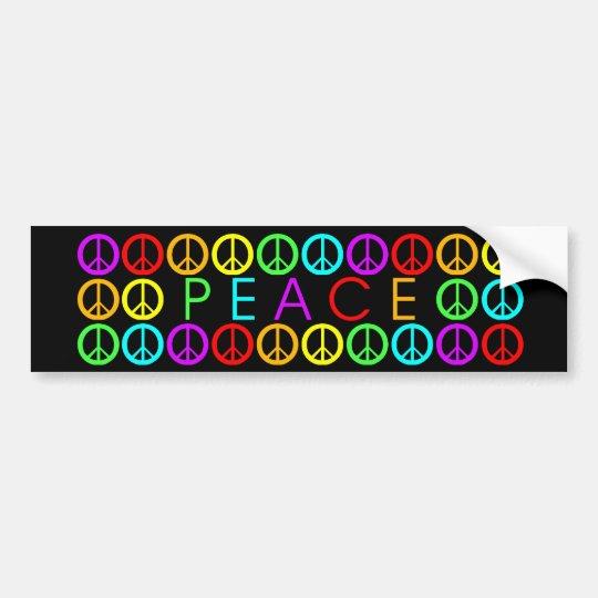 Colorful PEACE w/peace signs (black) Bumper Sticker