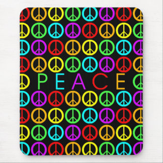 Colorful PEACE w/peace signs (black) Mouse Pad