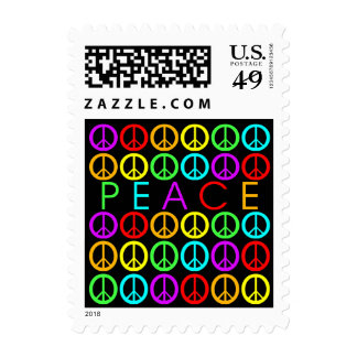 Colorful PEACE w/peace signs (black) Postage Stamps