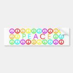 Colorful PEACE w/peace signs Car Bumper Sticker
