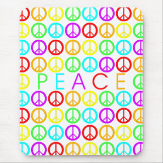 Colorful PEACE w/peace signs Mouse Pad