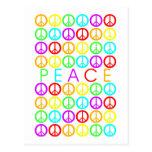 Colorful PEACE w/peace signs Postcard