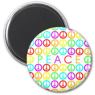 Colorful PEACE w/peace signs round Magnet