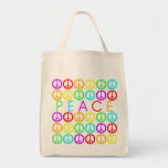 Colorful PEACE w/peace signs Tote Bag