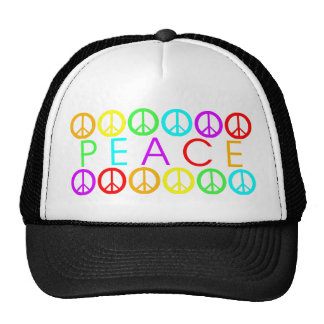 Colorful PEACE w/peace signs Trucker Hat