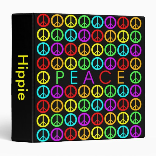 Colorful PEACE w/peace signs Vinyl Binders