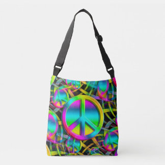 Colorful PEACE web seamless pattern + your ideas Crossbody Bag