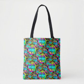 Colorful PEACE web seamless pattern + your ideas Tote Bag