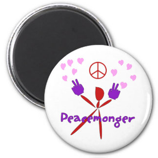 Colorful Peacemonger 2 Inch Round Magnet