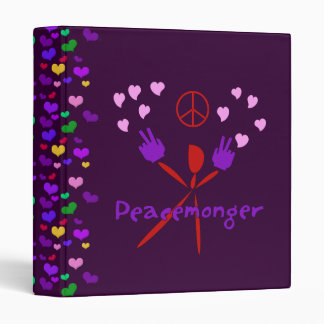 Colorful Peacemonger 3 Ring Binder